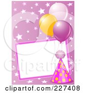 Blank Frame Bordered With A Pink Party Hat Balloons And Stars On Pink