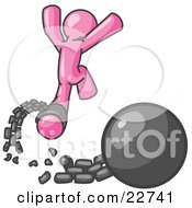Clipart Illustration Of A Pink Man Jumping For Joy While Breaking Away From A Ball And Chain Symbolizing Freedom From Debt Or Divorce by Leo Blanchette