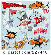 Royalty Free RF Clipart Illustration Of A Digital Collage Of Comic Sounds And Icons On Blue 2 by Pushkin