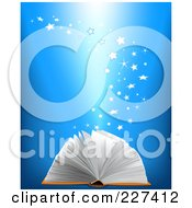 Royalty Free RF Clipart Illustration Of Magical Stars Rising From An Open Book On A Blue Background by Pushkin