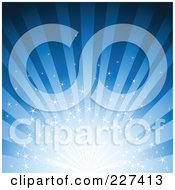 Royalty Free RF Clipart Illustration Of A Blue Starry Burst And Ray Background