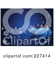 Royalty Free RF Clipart Illustration Of A Blue Christmas Background Of Shiny Glass Ornaments And Snowflake Waves
