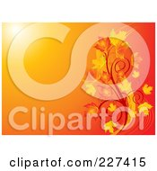 Royalty Free RF Clipart Illustration Of A Gradient Orange Background With Swirls And Autumn Leaves
