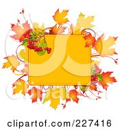 Yellow Box Bordered With Autumn Leaves And Berries