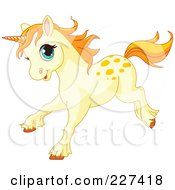 Royalty Free RF Clipart Illustration Of A Happy Cream Colored Baby Unicorn Running by Pushkin