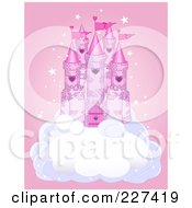Princess Castle On A Puffy Cloud Over Pink With Stars