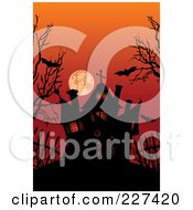 Royalty Free RF Clipart Illustration Of A Silhouetted Haunted House Under Bats Bare Trees And A Red Sky