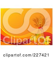 Royalty Free RF Clipart Illustration Of An Autumn Background Of Wheat Leaves Berries Corn And Pumpkins On Orange With Waves