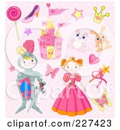 Royalty Free RF Clipart Illustration Of A Digital Collage Of Princess And Knight Icons On Pink by Pushkin