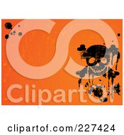 Royalty Free RF Clipart Illustration Of A Grungy Orange Halloween Background With Black Splatters And A Skull
