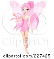 Royalty Free RF Clipart Illustration Of A Pretty Pink Haired Fairy Pointing To The Left by Pushkin