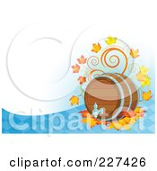 Royalty Free RF Clipart Illustration Of An Oktoberfest Background Of A Beer Keg With Autumn Leaves Over A Blue Diamond Pattern And White