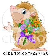 Royalty Free RF Clipart Illustration Of A Cute Hedgehog Holding A Bouquet Of Flowers by Pushkin