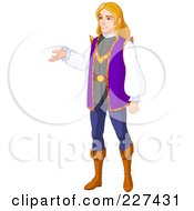 Royalty Free RF Clipart Illustration Of A Handsome Blond Prince Standing And Presenting by Pushkin