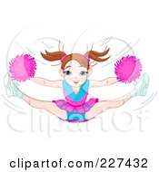 Royalty Free RF Clipart Illustration Of A Energetic Brunette Teenage Cheerleader Girl Leaping by Pushkin