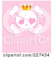 Princess Crown Wearing An Eye Patch And Crown Over Pink