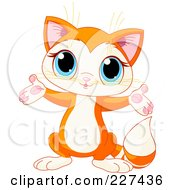 Royalty Free RF Clipart Illustration Of A Cute Orange Kitten Holding Out His Arms