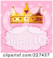 Princess Crown Over A Frame On Polka Dot Pink