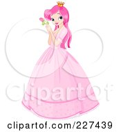 Royalty Free RF Clipart Illustration Of A Pretty Pink Haired Princess In A Big Dress Holding A Rose