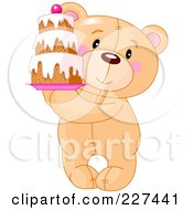 Royalty Free RF Clipart Illustration Of A Cute Teddy Bear Holding A Tiered Cake by Pushkin