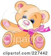 Royalty Free RF Clipart Illustration Of A Cute Teddy Bear Wearing A Pink Bow And Waving