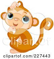 Royalty Free RF Clipart Illustration Of A Cute Baby Monkey Scratching His Head by Pushkin