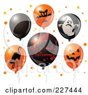 Royalty Free RF Clipart Illustration Of A Digital Collage Of Red And Black Halloween Balloons With A Have A Spooky Halloween Greeting by Pushkin