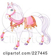 Royalty Free RF Clipart Illustration Of A White Princess Horse With Pink Gear