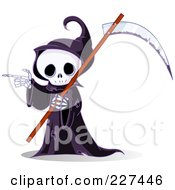 Grim Reaper Skeleton Carrying A Scythe And Pointing