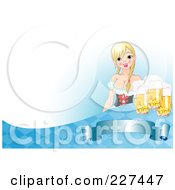 Royalty Free RF Clipart Illustration Of A Sexy Beer Maiden Serving Oktoberfest Beer Over A Blank Banner Blue Diamonds And White Space