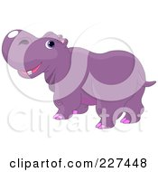Royalty Free RF Clipart Illustration Of A Cute Purple Hippo Looking Back by Pushkin