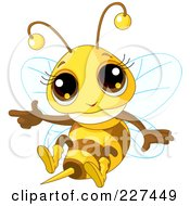Royalty Free RF Clipart Illustration Of A Cute Baby Bee Flying And Pointing by Pushkin