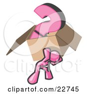 Pink Man Carrying A Heavy Question Mark In A Box