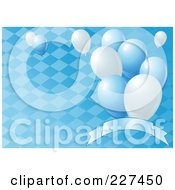 Royalty Free RF Clipart Illustration Of A Blue Oktoberfest Background Of A Diamond Pattern Balloons And A Blank Banner 1