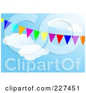 Royalty Free RF Clipart Illustration Of A Background Of Colorful Flags Against A Cloudy Blue Sky