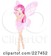 Royalty Free RF Clipart Illustration Of A Pretty Pink Haired Fairy Holding A Butterfly