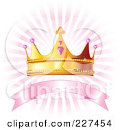 Princess Crown Over A Blank Pink Banner And Pink Rays On White