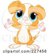 Royalty Free RF Clipart Illustration Of A Cute Beagle Puppy Holding Out His Arms by Pushkin