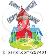 Cute Red Windmill By A Blue House