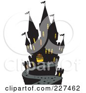 Royalty Free RF Clipart Illustration Of A Path Leading To A Haunted Mansion by visekart