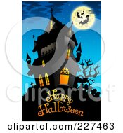 Royalty Free RF Clipart Illustration Of A Haunted Mansion With Bats And A Full Moon Over Happy Halloween Text 6