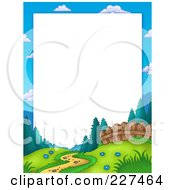 Royalty Free RF Clipart Illustration Of A Path Leading Through A Meadow Near A Fence At The Edge Of A Forest Border Frame