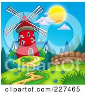 Royalty Free RF Clipart Illustration Of A Path Leading To A Red Windmill And Blue House by visekart