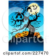 Royalty Free RF Clipart Illustration Of A Bats And A Full Moon With A Bare Tree Over Jackolanterns On Blue