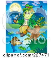 Royalty Free RF Clipart Illustration Of A Water Sprite Sitting On A Stump And Smoking A Pipe Above A Fish by visekart