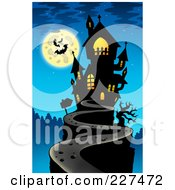 Royalty Free RF Clipart Illustration Of A Path Leading To A Haunted Mansion On A Hilltop Under A Full Moon With Bats Over Blue