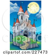 Royalty Free RF Clipart Illustration Of A Full Moon Over A Castle On A Hill