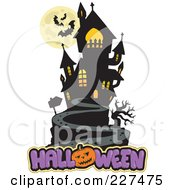 Royalty Free RF Clipart Illustration Of A Full Moon With Vampire Bats And A Haunted Mansion Over Halloween Text