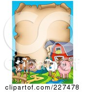 Royalty Free RF Clipart Illustration Of A Cow Sheep Duck And Pig With A Barn And Silo Around An Aged Parchment Page by visekart