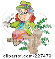 Royalty Free RF Clipart Illustration Of A Water Sprite Sitting On A Stump And Smoking A Pipe by visekart